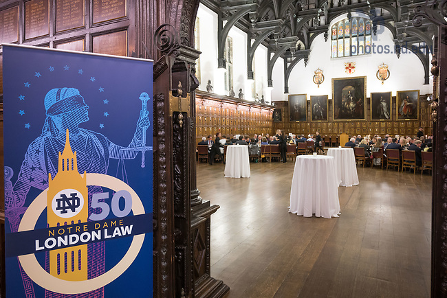 October 21, 2018; Law School London Golden Jubilee celebration at Middle Temple Hall in London (Photo by Matt Cashore/University of Notre Dame)