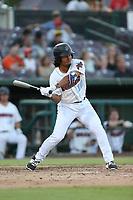 Jahmai Jones (19) of the Inland Empire 66ers bats against the Rancho Cucamonga Quakes at San Manuel Stadium on July 29, 2017 in San Bernardino, California. Inland Empire defeated Rancho Cucamonga, 6-4. (Larry Goren/Four Seam Images)