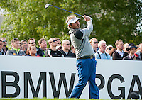 21.05.2015. Wentworth, England. BMW PGA Golf Championship. Round 1.  Victor Dubuisson [FRA] on the first tee. The first round of the 2015 BMW PGA Championship from The West Course Wentworth Golf Club