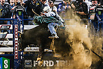GAGE GAY (24) in action during the Professional Bull Riders, Iron Cowboy V bull riding event, at the AT & T stadium in Arlington, Texas.