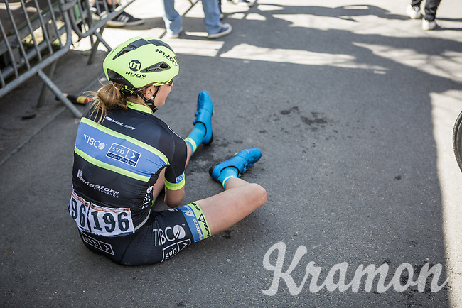 Emma Grant (GBR/Tibco) exhausted after finishing.<br /> <br /> 21st La Flèche Wallonne Femmes <br /> 1 day race: Huy - Huy (118,5KM)
