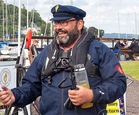 Royal Cork Admiral Colin Morehead gets ready to lead the 2021 Admiral's Chace flotilla from Crosshaven in Cork Harbour. Scroll down for a photo gallery of the event below by Bob Bateman