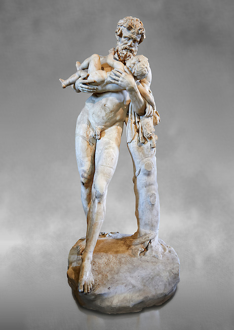 Silenus (Faune to the Romans) and The Child ( Dionysus, Bacchus to the Romans). A 1st - 2nd century Roman statue in marble discovered in the gardens of the Salluste in Rome, Italy. Silenus was ordered by Zeus to take his illegitimate son son Dionysus away from the wrath of Hera to the nymphs. This staue is a Roman copy of a lost bronze Greek original by the 4th century BC Greek sculptor  Lysippos.  From the Borghese collection, Inv MR 346   (or Ma 922), The Louvre Mueum, Paris.