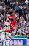 David Alaba (top) of FC Bayern Munich battles for the ball with Daniel Carvajal Ramos of Real Madrid during their 2016-17 UEFA Champions League Quarter-finals second leg match between Real Madrid and FC Bayern Munich at the Estadio Santiago Bernabeu on 18 April 2017 in Madrid, Spain. Photo by Diego Gonzalez Souto / Power Sport Images