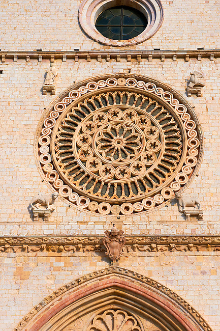 Romanesque Rose window of the Papal Basilica of St Francis of Assisi, ( Basilica Papale di San Francesco ) Assisi, Italy