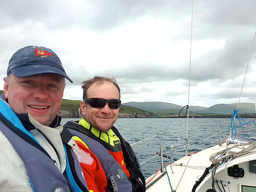An already well-worn Lough Ree YC cap has taken another battering – SB20 Class President John Malone and Yannick Lemonnier at the conclusion of a successful Dun Laoghaire to Dingle Race 2019