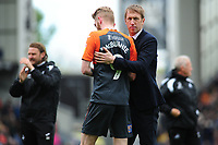 Graham Potter Manager of Swansea City and Oli McBurnie of Swansea City at full time during the Sky Bet Championship match between Blackburn Rovers and Swansea City at Ewood Park in Blackburn, England, UK. Sunday 5th May 2019