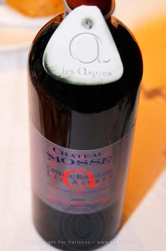 Ch Mosse Chateau Mosse. Cotes du Roussillon Les Aspres. Roussillon. France. Europe. Bottle.