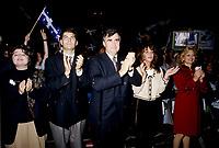 FILE -  Mario Dumont, son epouse (G)  et Lucien Bouchard , son epouse audrey best, Lisette Lapointe lorsque les partisans du OUI  tiennent un grand rassemblement a l'auditorium de Verdun (date exacte inconnue)<br /> <br /> PHOTO : Agence Quebec Presse