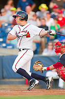 Riaan Spanjer-Furtsenburg #43 of the Rome Braves follows through on his swing against the Greenville Drive at State Mutual Stadium July 24, 2010, in Rome, Georgia.  Photo by Brian Westerholt / Four Seam Images