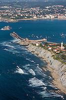 France, Pyrénées-Atlantiques (64), Pays-Basque,Env  de Saint-Jean-de-Luz : La Corniche basque ou Corniche d'Urrugne, Ciboure et la baie de   Saint-Jean-de-Luz   - Vue aérienne // France, Pyrenees Atlantiques, Basque Country,Near   Saint-Jean-de-Luz,   Basque Corniche, Corniche Urrugne  Ciboure and Saint-Jean-de-Luz bay Aerial view