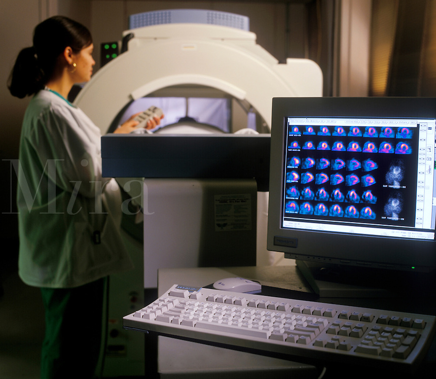 Duel-headed gamma camera aids researchers in evaluating cardiac imaging agents and drugs for stress testing