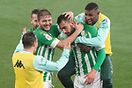 Real Betis Balompie's Andres Guardado, Joaquin Sanchez, Sergio Canales, Borja Iglesias and Emerson Royal celebrate goal during La Copa match. January 26, 2021. (ALTERPHOTOS/Acero)