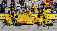 Ryan Hunter-Reay pit stop, Milwaukee Indy Fest 250, Milwaukee Mile Speedway, Milwaukee, WI, August 2014.  (Photo by Brian Cleary/www.bcpix.com)