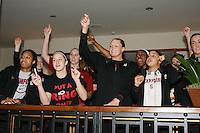 SACRAMENTO, CA - MARCH 29: Melanie Murphy, JJ Hones, Kayla Pedersen, Jayne Appel, Nnemkadi Ogwumike, Grace Mashore and Joslyn Tinkle before Stanford's 55-53 win over Xavier in the NCAA Women's Basketball Championship Elite Eight on March 29, 2010 at Arco Arena in Sacramento, California.