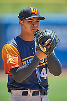 Las Vegas Aviators starting pitcher Jesús Luzardo (45) throws before the game against the Salt Lake Bees at Smith's Ballpark on June 27, 2021 in Salt Lake City, Utah. The Aviators defeated the Bees 5-3. (Stephen Smith/Four Seam Images)