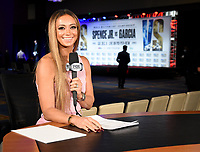 DALLAS, TX - DECEMBER 4: Kate Abdo at the weigh-in for the Errol Spence Jr. vs Danny Garcia December 5, 2020 Fox Sports PBC Pay-Per-View fight night at AT&T Stadium in Arlington, Texas. (Photo by Frank Micelotta/Fox Sports)