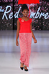 Model walks runway in an outfit from The Red Umbrella  collection fashion show, at The Society Fashion Week on September 9, 2018 at The Roosevelt Hotel in New York City, during New York Fashion Week Spring Summer 2019.