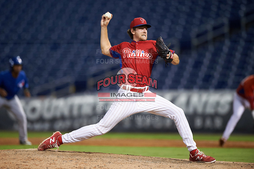 GCL Phillies relief pitcher Justin Miller (44) during a game against the GCL Blue Jays on August 16, 2016 at Bright House Field in Clearwater, Florida.  GCL Blue Jays defeated GCL Phillies 2-1.  (Mike Janes/Four Seam Images)