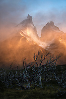 Foggy sunrise over Torres Del Paine National Park, Chile