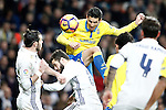 Real Madrid's Gareth Bale (l) and Nacho Fernandez (c) and UD Las Palmas' Vicente Gomez during La Liga match. March 1,2017. (ALTERPHOTOS/Acero)