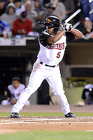 Rochester Red Wings shortstop Eduardo Escobar (5) at bat during an International League playoff game against the Pawtucket Red Sox on September 5, 2013 at Frontier Field in Rochester, New York.  Pawtucket defeated Rochester 7-2.  (Mike Janes/Four Seam Images)