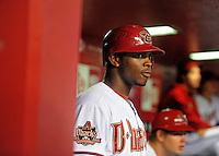May. 15, 2008; Phoenix, AZ, USA; Arizona Diamondbacks outfielder Justin Upton against the Colorado Rockies at Chase Field. Mandatory Credit: Mark J. Rebilas-