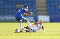 Bolton Wanderers' Ali Crawford challenges Colchester United's Cohen Bramall<br /> <br /> Photographer Rob Newell/CameraSport<br /> <br /> The EFL Sky Bet League Two - Colchester United v Bolton Wanderers - Saturday 19th September 2020 - Colchester Community Stadium - Colchester<br /> <br /> World Copyright © 2020 CameraSport. All rights reserved. 43 Linden Ave. Countesthorpe. Leicester. England. LE8 5PG - Tel: +44 (0) 116 277 4147 - admin@camerasport.com - www.camerasport.com