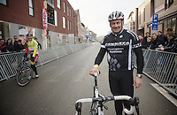 cyclocross legend Roland Liboton (BEL), who won in Overijse an astonishing/record 16(!) times, came to the start of the 'gentlemens race' that was held  before the elite race.<br /> <br /> Vlaamse Druivencross Overijse 2013