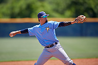 Tampa Bay Rays third baseman Cristhian Pedroza (90) throws to first base during a Minor League Extended Spring Training game against the Baltimore Orioles on April 17, 2019 at Charlotte County Sports Complex in Port Charlotte, Florida.  (Mike Janes/Four Seam Images)