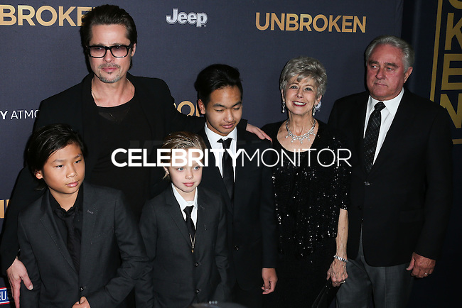 HOLLYWOOD, LOS ANGELES, CA, USA - DECEMBER 15: Pax Thien Jolie-Pitt, Brad Pitt, Shiloh Nouvel Jolie-Pitt, Maddox Jolie-Pitt, Jane Pitt, William Pitt arrives at the Los Angeles Premiere Of Universal Pictures' 'Unbroken' held at the Dolby Theatre on December 15, 2014 in Hollywood, Los Angeles, California, United States. (Photo by Xavier Collin/Celebrity Monitor)