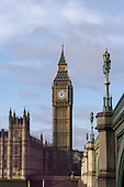 Westminster, London, England. Elizabeth Tower, the tower of Big Ben and Westminster Bridge.