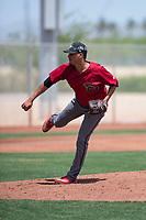 Arizona Diamondbacks relief pitcher Luis Castillo (12) follows through on his delivery during an Extended Spring Training game against the Cleveland Indians at the Cleveland Indians Training Complex on May 27, 2018 in Goodyear, Arizona. (Zachary Lucy/Four Seam Images)