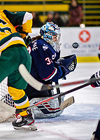 8 February 2020: University of Connecticut Husky Goaltender Samantha Carpentier-Yelle, a Sophomore from Bromont, Quebec, makes a second period save against the University of Vermont Catamounts at Gutterson Fieldhouse in Burlington, Vermont. The Huskies defeated the Lady Cats 4-2 in the first game of their weekend Hockey East series. Mandatory Credit: Ed Wolfstein Photo *** RAW (NEF) Image File Available ***