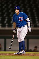 AZL Cubs 1 first baseman Luis Hidalgo (17) at bat during an Arizona League game against the AZL Diamondbacks at Sloan Park on June 18, 2018 in Mesa, Arizona. AZL Diamondbacks defeated AZL Cubs 1 7-0. (Zachary Lucy/Four Seam Images)