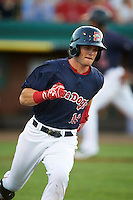 Portland Sea Dogs designated hitter Andrew Benintendi (18) runs to first on a base hit in the bottom of the fifth inning during a game against the Reading Fightin Phils on May 31, 2016 at Hadlock Field in Portland, Maine.  Reading defeated Portland 6-4.  (Mike Janes/Four Seam Images)