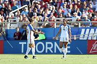 Cary, NC - Sunday October 22, 2017: Lynn Williams and Carli Lloyd during an International friendly match between the Women's National teams of the United States (USA) and South Korea (KOR) at Sahlen's Stadium at WakeMed Soccer Park. The U.S. won the game 6-0.