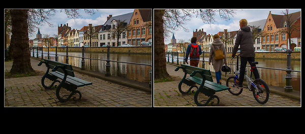 Belgium, Brugge. <br /> Stage Technique and strong diagonal lines, before and then capturing the action.