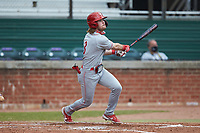 Carson Bartels (3) of the St. John's Red Storm at bat against the Western Carolina Catamounts at Childress Field on March 12, 2021 in Cullowhee, North Carolina. (Brian Westerholt/Four Seam Images)