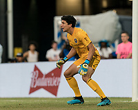 FOXBOROUGH, MA - JULY 27: Brian Rowe #23 anticipates a shot during a game between Orlando City SC and New England Revolution at Gillette Stadium on July 27, 2019 in Foxborough, Massachusetts.