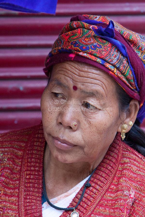 India, Rishikesh.  Indian Woman of Tibetan Origin.