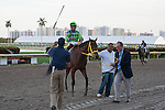 Jockey Luis Saez and Wildcat Red after winning the Fountain of Youth(G2) at Gulfstream Park, Hallandale Beach Florida. 02-22-2014