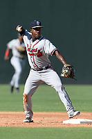 Shortstop Marcos Almonte (4) of the Rome Braves plays defense in Game 1 of a doubleheader against the Greenville Drive on Friday, August 3, 2018, at Fluor Field at the West End in Greenville, South Carolina. Rome won, 7-6. (Tom Priddy/Four Seam Images)