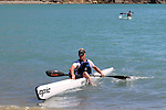 James Feathery, Open Men's champion, nears the finish line. 2012 SI Surf Ski Championships: Tahunanui to Cable Bay.<br /> Photo: Marc Palmano/Shuttersport