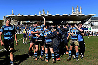 Nelson College celebrates, following the 1st XV South Island Final rugby match between Otago Boys High School 1st XV and Nelson College 1st XV at Littlebourne in Dunedin, New Zealand on Saturday, 31 August 2019. Photo: Joe Allison / lintottphoto.co.nz