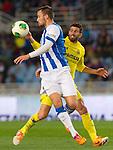 Real Sociedad's Haris Seferovic (f) and Villareal's Mateo Pablo Musacchio during Copa del Rey match.November 23,2013. (ALTERPHOTOS/Mikel)