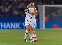 PARIS,  - JUNE 28: Lindsey Horan #9 celebrates with Abby Dahlkemper #7 during a game between France and USWNT at Parc des Princes on June 28, 2019 in Paris, France.