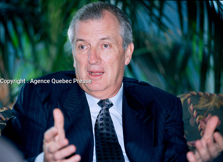 1996, Montreal, Quebec, Canada; <br /> <br /> File Photo of Bombardier CEO & President Laurent Beaudoin during an interview in Montreal.<br /> The WTO ruled Monday , January 28th, 2002, that Canada broke global trading rules by providing cut-rate loans to finance regional jet sales by Montreal-based Bombardier. <br /> Ottawa has 30 days to decide whether to appeal the ruling in what has become a five-year-long trade war between Canada and Brazil over jet sales. <br /> The WTO condemned several deals, the largest involving $1.7 billion in financing by Ottawa to support a Bombardier sale of 75 jets to Air Wisconsin. <br /> y<br /> <br /> NOTE : slide scan made with Kodak RFS 3600, saved as Adobe 1998 RGB