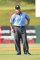 Base umpire Jose Esteras during the South Atlantic League game between the Delmarva Shorebirds and the Kannapolis Intimidators at Fieldcrest Cannon Stadium on May 22, 2011 in Kannapolis, North Carolina.   Photo by Brian Westerholt / Four Seam Images