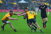 Australia's James O'Connor tackles NZ's Richie Mo'unga during the Bledisloe Cup rugby union match between the New Zealand All Blacks and Australia Wallabies at Sky Stadium in Wellington, New Zealand on Sunday, 11 October 2020. Photo: Dave Lintott / lintottphoto.co.nz